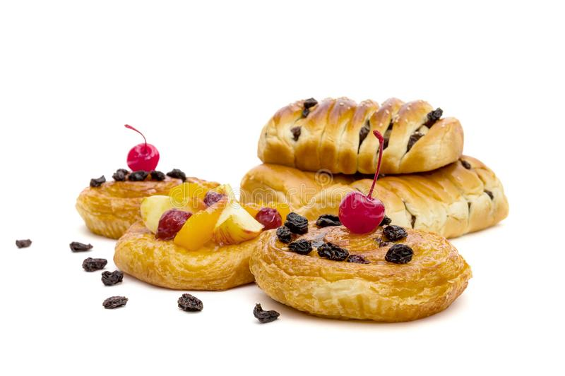 Danish pastry with fruits isolated on white background.  royalty free stock photos