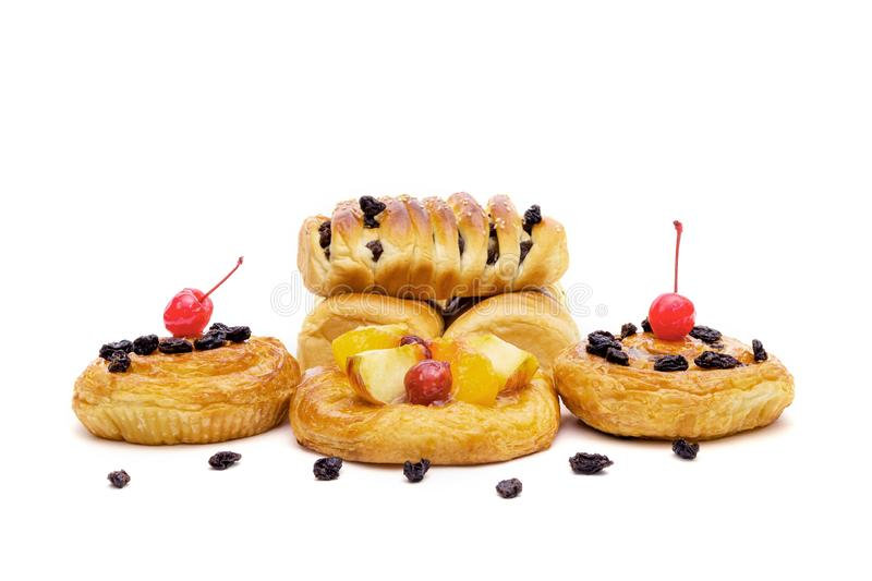 Danish pastry with fruits isolated on white background.  stock photography