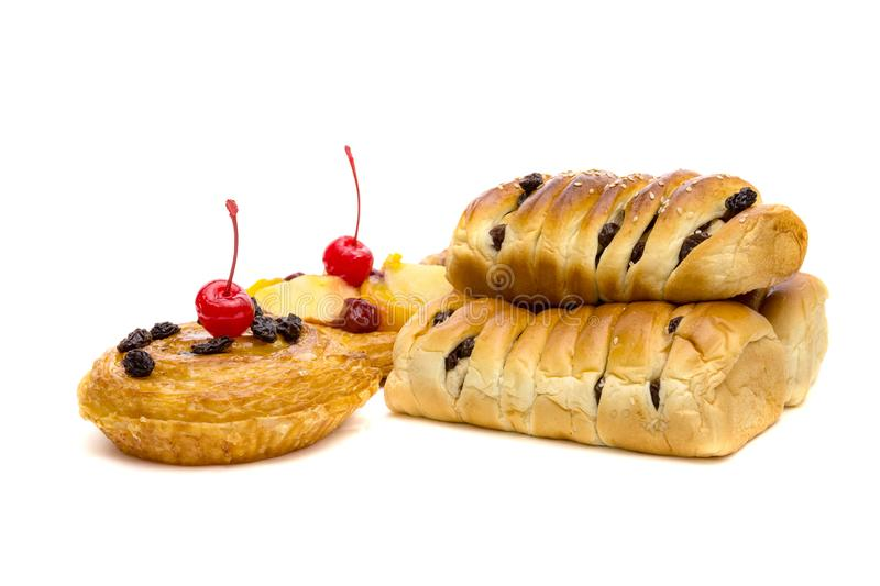 Danish pastry with fruits isolated on white background royalty free stock photography