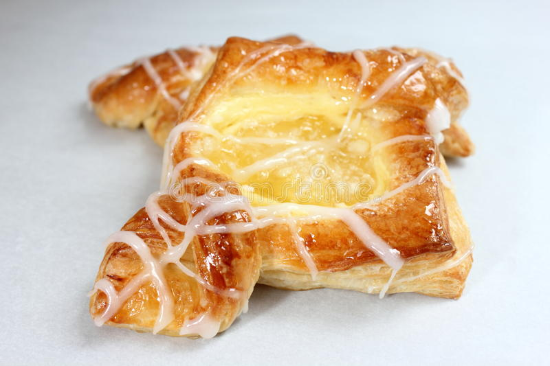 Danish pastry. Are made of flour, yeast, milk, eggs and butter stock photo