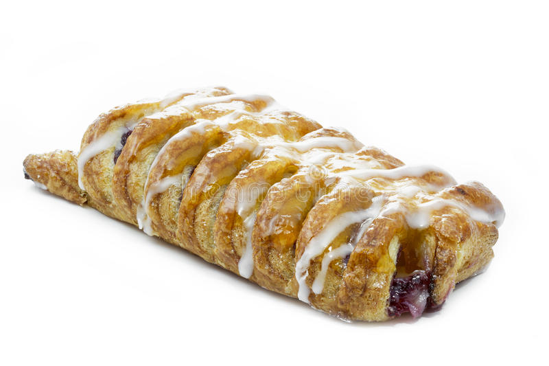 Danish pastry with raspberries royalty free stock photos