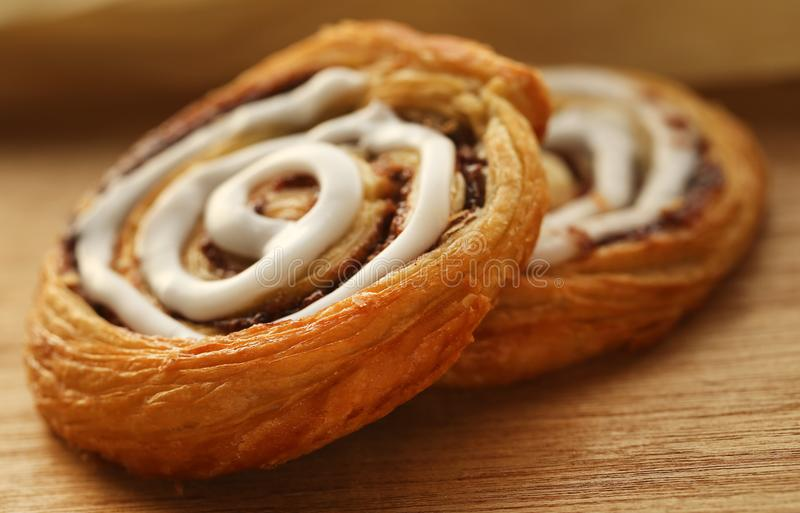 Danish Pastry. Very tasty on natural surface royalty free stock image