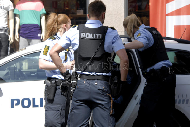 Danish police officers made arrest royalty free stock photos
