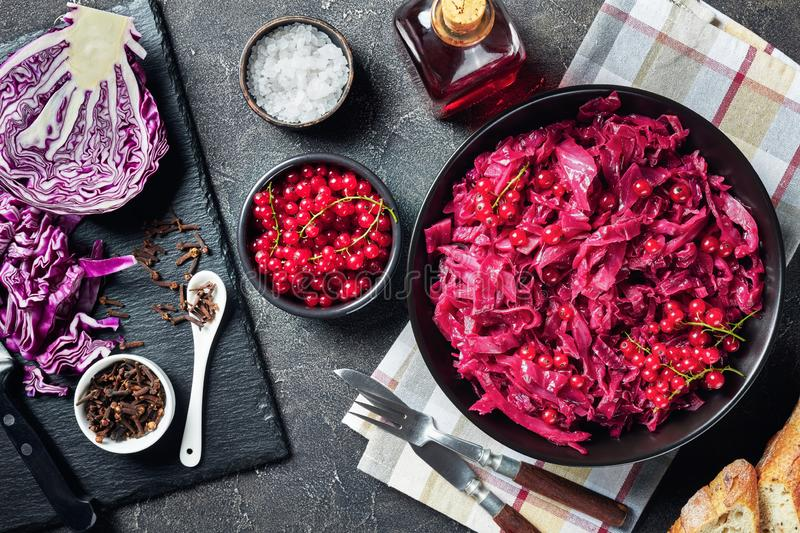 Danish Red Cabbage in a bowl, close-up royalty free stock image