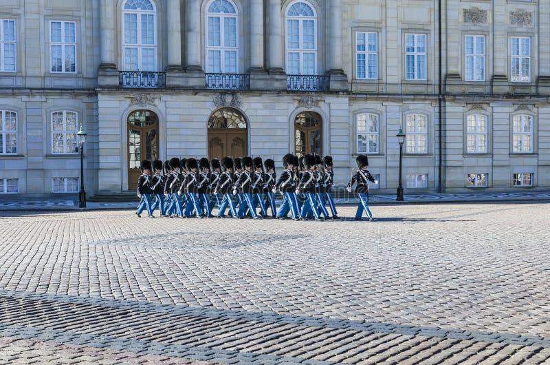 Danish Royal Guards marching in Copenhagen stock photography
