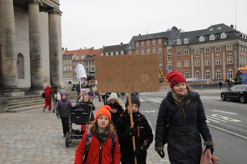 DANISH SCHOOL CHILDREM STAGED CLIMATE CHANGE RALLY stock images