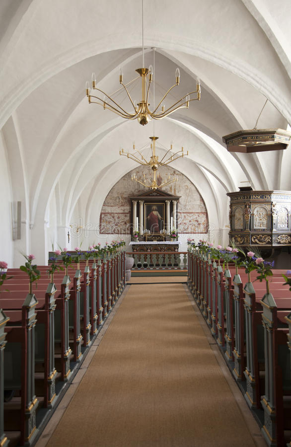 Free Danish Village Church Interior. Royalty Free Stock Photography - 25415317