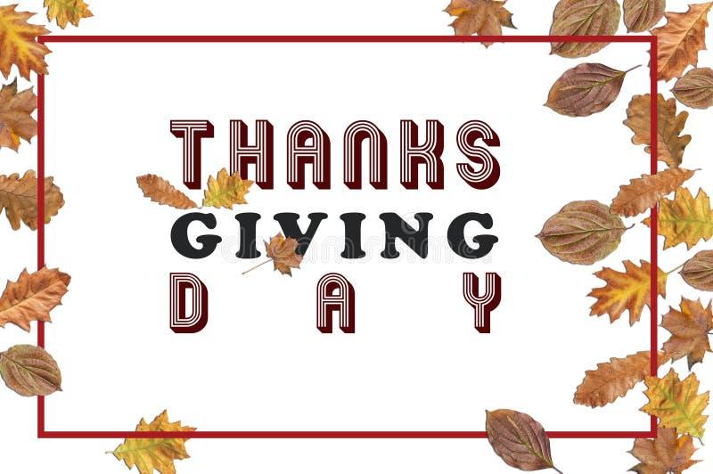Dank die Dag met verscheidene bladeren met bordokader geven op wit stock fotografie