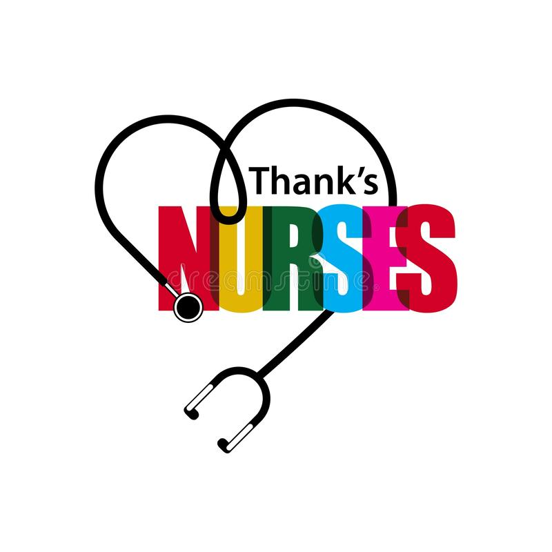 Dank-Krankenschwester-Vektor-Schablonen-Entwurfs-Illustration lizenzfreie abbildung