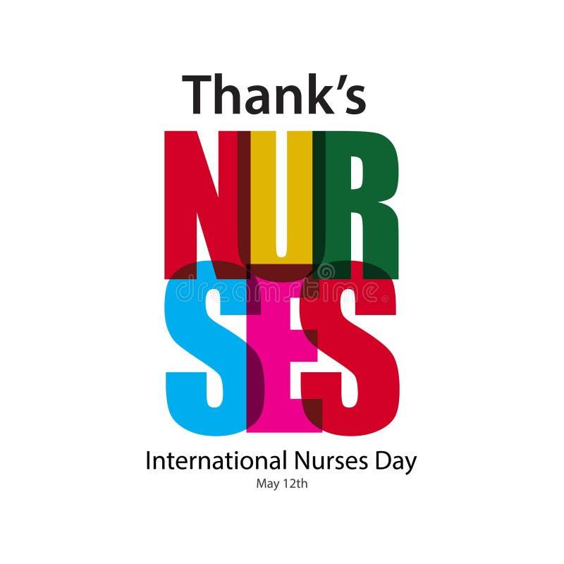 Dank-Krankenschwester-Vektor-Schablonen-Entwurfs-Illustration vektor abbildung