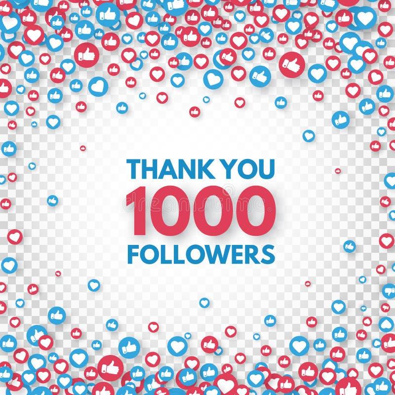 Dank u 1000 aanhangersachtergrond Sociaal media concept 1k de banner van de aanhangersviering Als en duimen omhoog stock illustratie