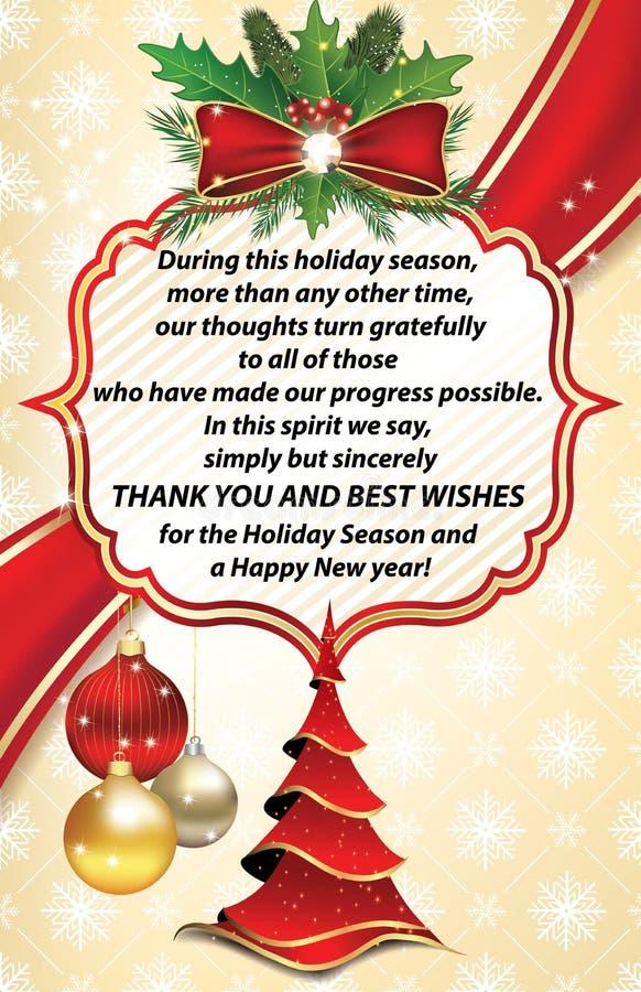 Dank u bedrijfsgroetkaart voor Nieuwjaar vector illustratie