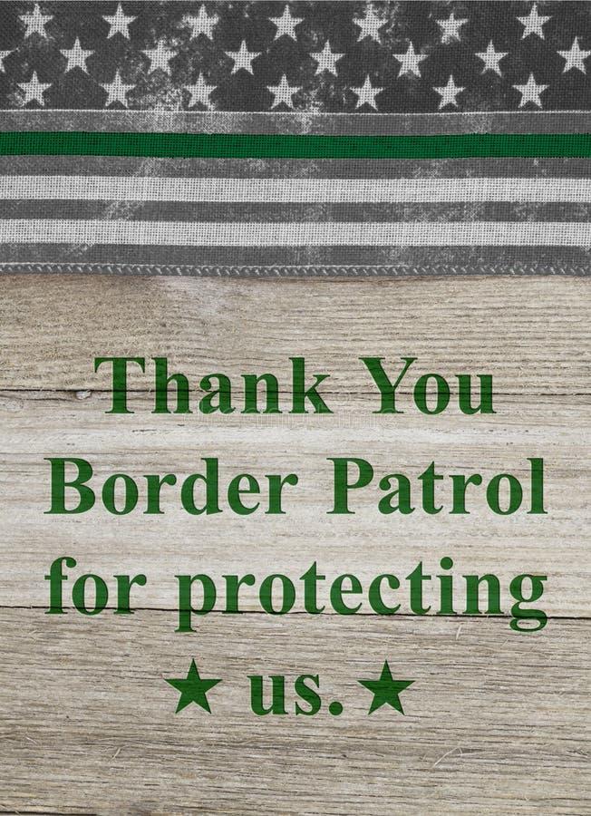 Dank u bericht op een Amerikaanse dunne groene lijnvlag voor de agenten van de grenspatrouille royalty-vrije stock afbeelding