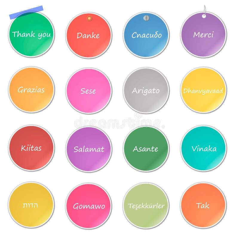Dank u dag, vakantie, verschillende kleurenstickers Vector illustratie royalty-vrije illustratie