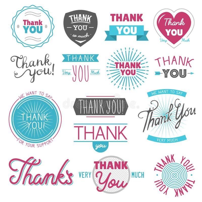 Dank u dankbaarheid voelend emotiestekst die het vectorbericht van het citaatuitdrukkingen van het embleemkenteken thanksfull van royalty-vrije illustratie