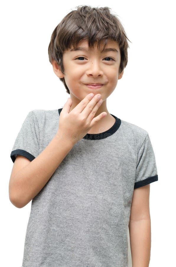 Dank u de gebarentaal van de jong geitjehand op witte achtergrond royalty-vrije stock foto