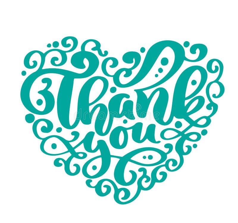 Dank u de met de hand geschreven inschrijving van het teksthart Huwelijkscitaat Hand het getrokken van letters voorzien Liefdekal royalty-vrije illustratie