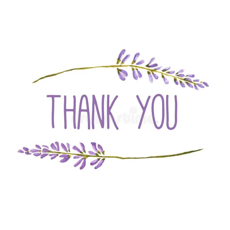 Dank u groetkaart met bloemen van lavendel Vectorwaterverf stock illustratie