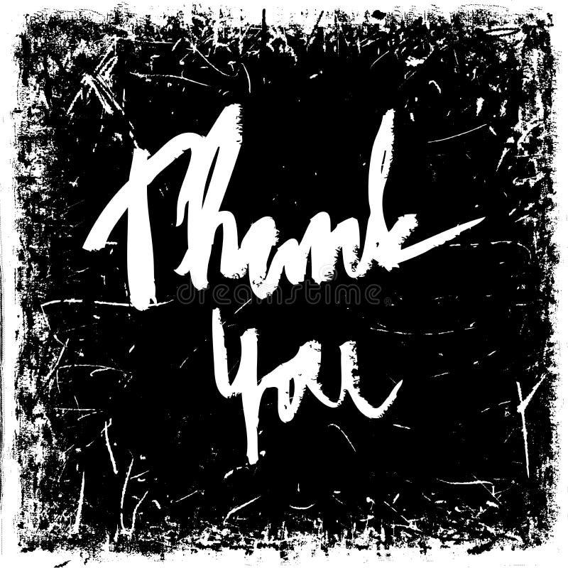 Dank u Het uitstekende hand getrokken van letters voorzien op grungeachtergrond Retro vectorillustratie vector illustratie
