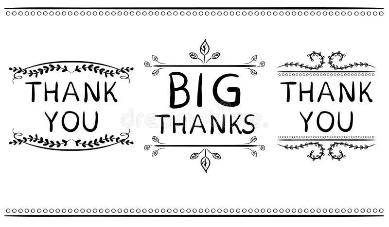 dank u kaarden malplaatjes Grote dank VECTOR met de hand geschreven woorden met handdrawn vignetten vector illustratie