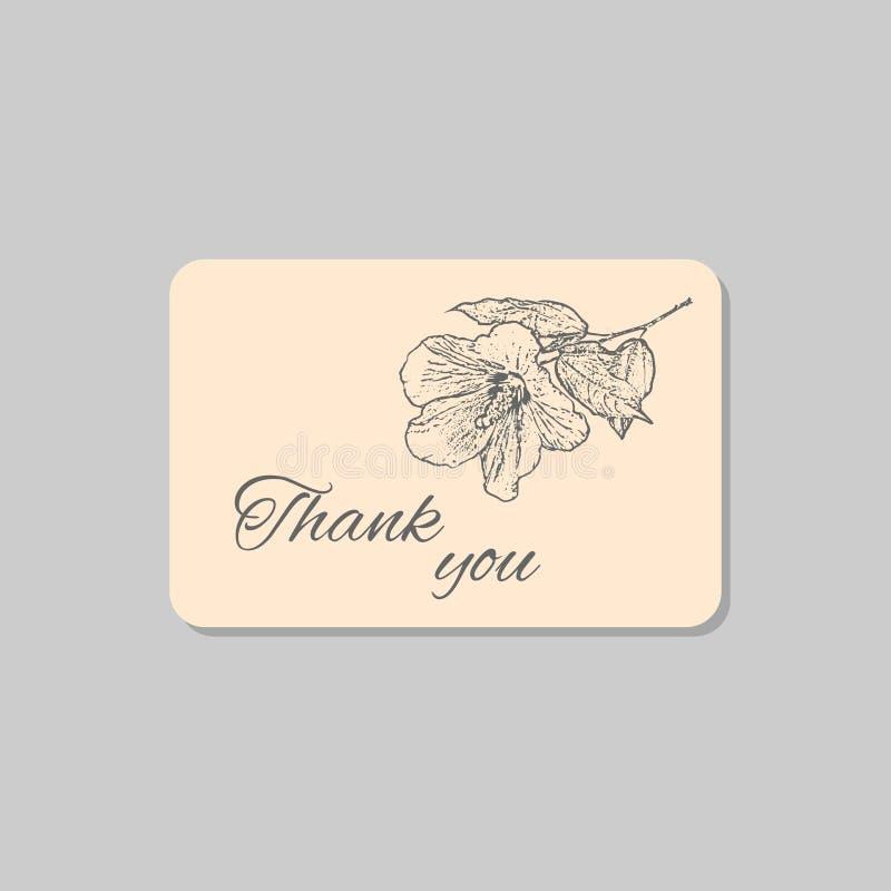 Dank u kaarden met de hibiscusbloem van Hawaï Uitstekend het ontwerpmalplaatje van het grungehuwelijk, bloemenkunstwerk Vector il stock illustratie