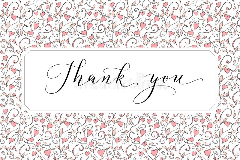 Dank u kaarden met hand geschreven douanekalligrafie en hartenachtergrond Groot voor groetkaarten, huwelijksuitnodigingen stock foto