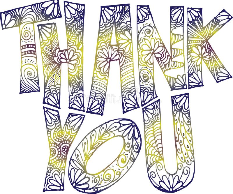 Dank u krabbel kunst-blauwachtige purple met gele aanraking stock foto's