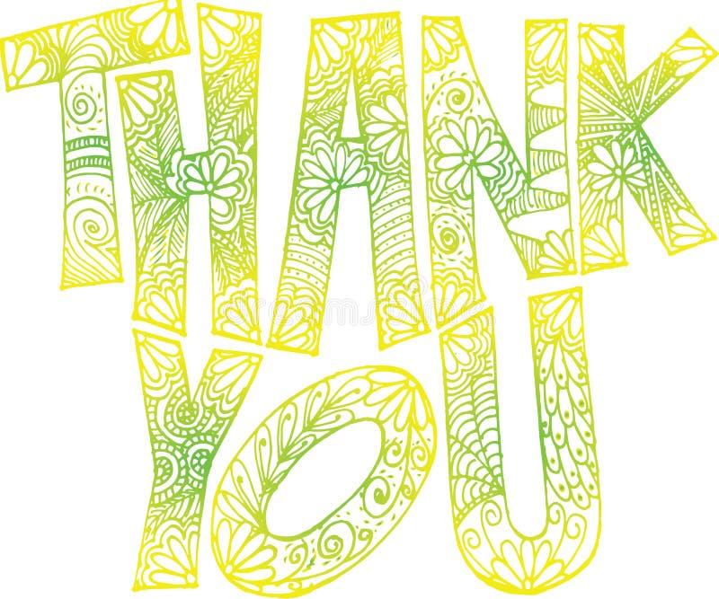 Dank u krabbel kunst-groenachtige geel royalty-vrije stock foto's