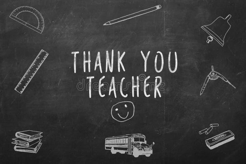 Dank u leraar met de hand geschreven op een bord royalty-vrije stock foto
