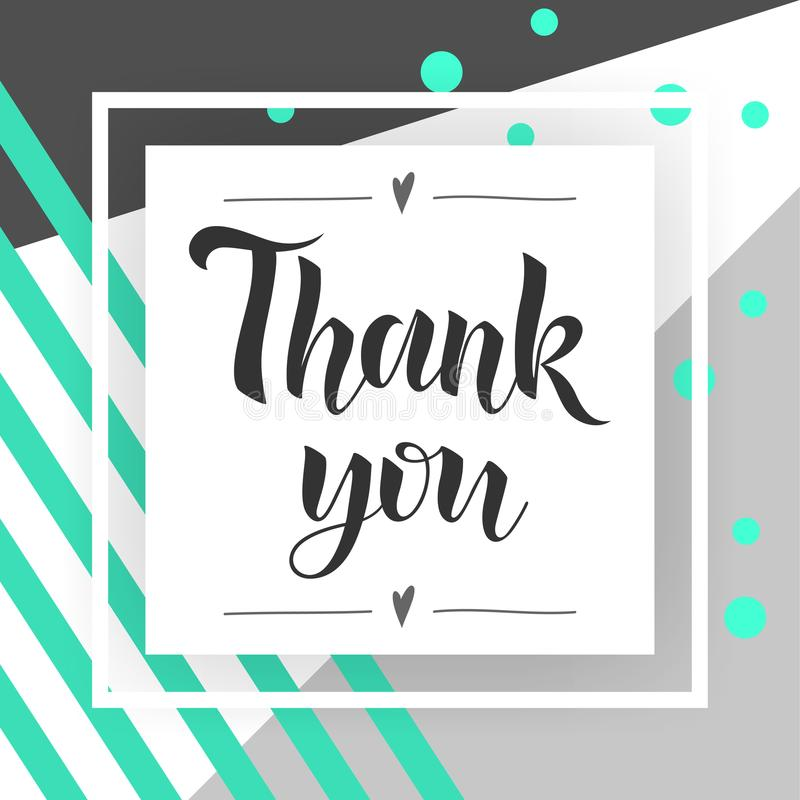 Dank u met de hand geschreven inschrijving Hand het getrokken van letters voorzien Dank u kalligrafie Dank u kaarden modieuze man royalty-vrije illustratie