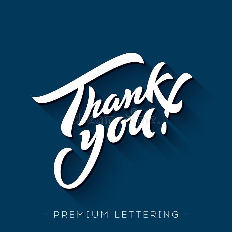 Dank u overhandigen het van letters voorzien stock illustratie