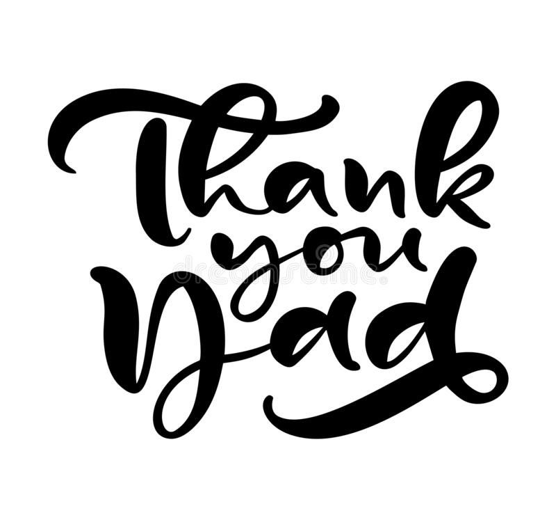 Dank u Papa die zwarte vectorkalligrafieteksten van letters voorzien voor Gelukkige Vaders Dag Het moderne uitstekende met de han royalty-vrije illustratie