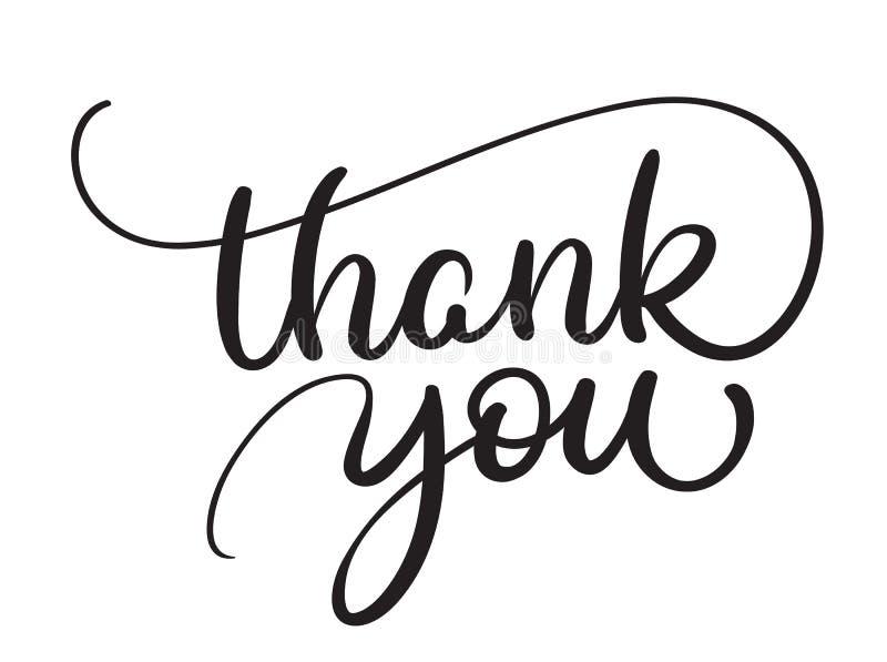 Dank u tekst op witte achtergrond Kalligrafie die Vectorillustratie EPS10 van letters voorzien