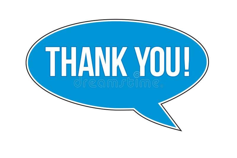 Dank u! tekstbericht binnen een blauwe bel die van de ballontoespraak wordt geschreven vector illustratie