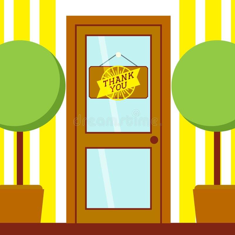Dank u tekstuithangbord op de vectorillustratie van de deurbanner Twee bomen in potten aan kanten van ingang aan ruimte of winkel royalty-vrije illustratie