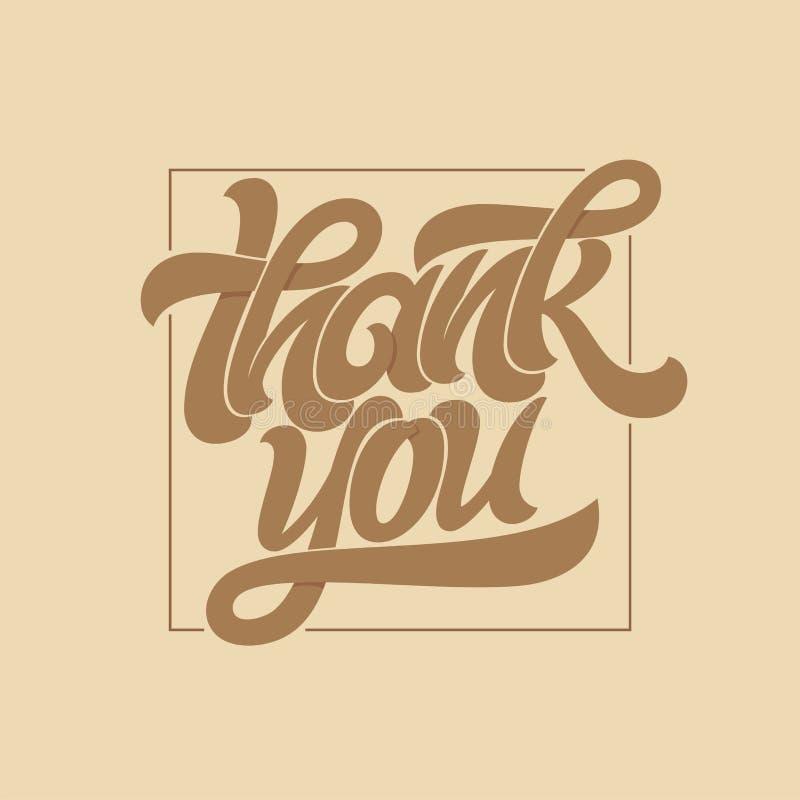 Dank u typografie Kalligrafieembleem met dun vierkant kader op bruine koffieachtergrond Het vectorborstel van letters voorzien vo vector illustratie
