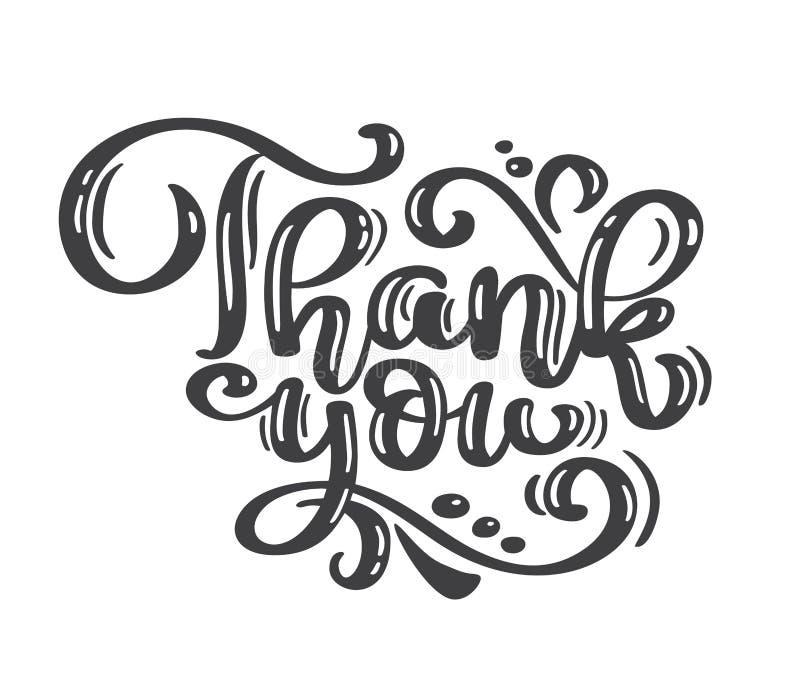 Dank u uitstekende tekst met de hand geschreven inschrijving Citaat Hand het Getrokken Van letters voorzien Dank u kalligrafie Da vector illustratie