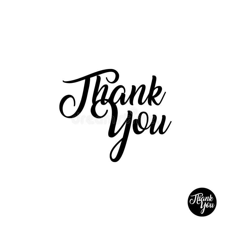 Dank u van letters voorziend, met de hand geschreven en kalligrafie vectorillustratie royalty-vrije illustratie