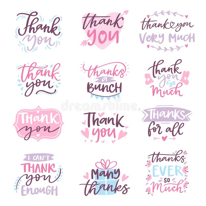 Dank u vector van de het embleembrief van de kaarttekst van de het manuscripttypografie van het de illustratie dankbaar ontwerp d vector illustratie