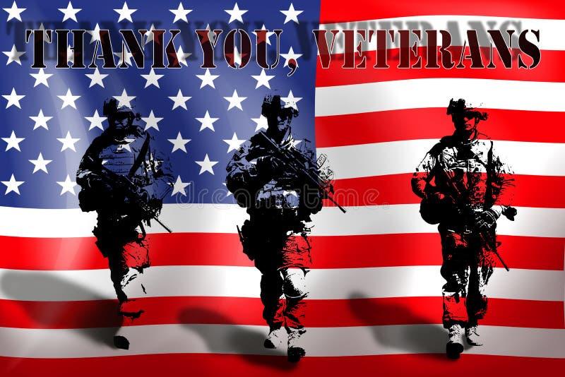 DANK U VETERANEN op de achtergrond van de Amerikaanse vlag met de militairen stock illustratie