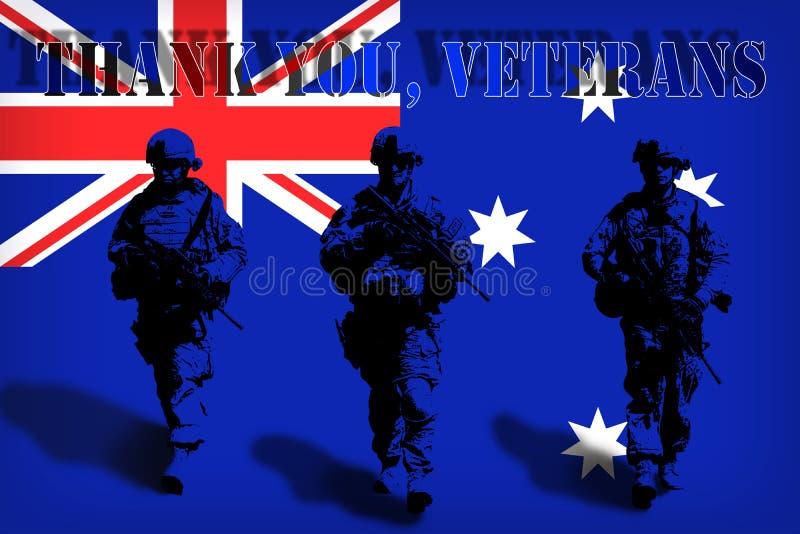 DANK U VETERANEN op de achtergrond van de Australische vlag met militairen vector illustratie