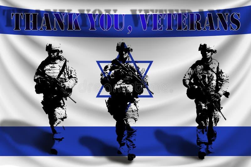 DANK U VETERANEN tegen de achtergrond van de vlag van Israël met militairen vector illustratie