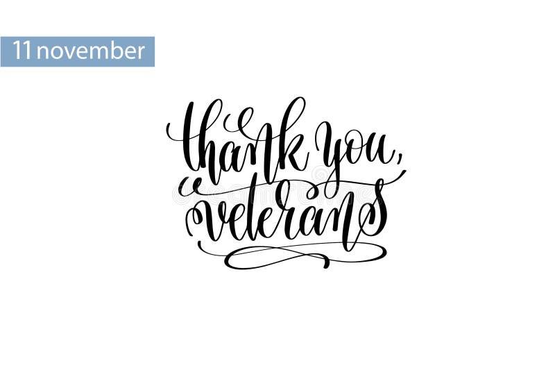 Dank u, veteranenhand het van letters voorzien inschrijving aan 11 november stock illustratie