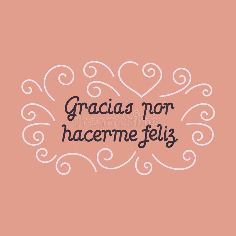 Dank u voor geluk, hand het van letters voorzien in het Spaans royalty-vrije illustratie