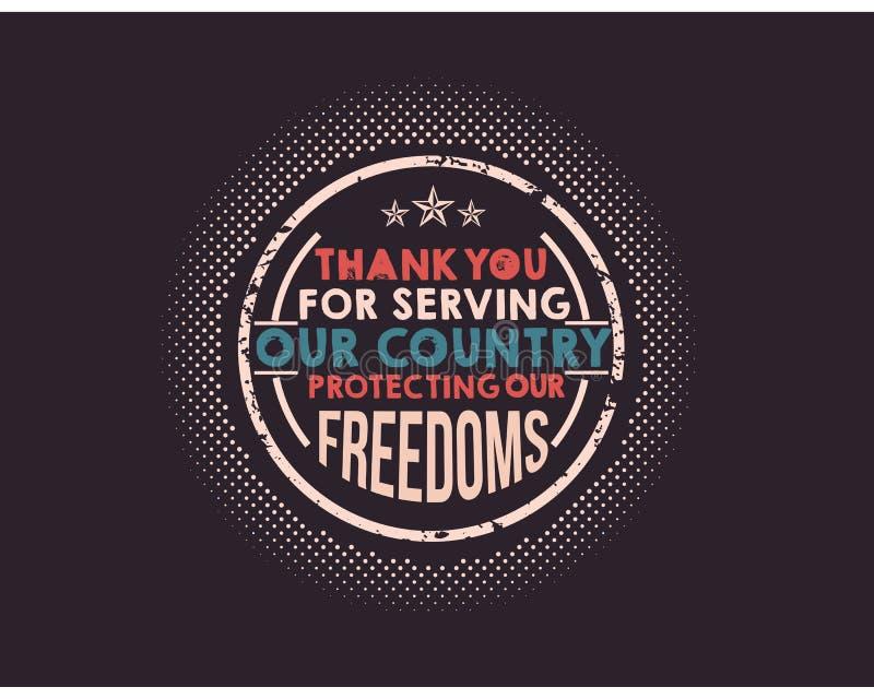 dank u voor het dienen van ons land die onze vrijheden beschermen vector illustratie