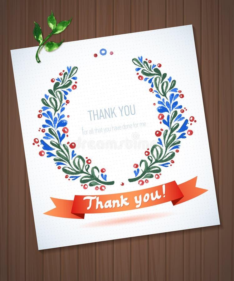 DANK U waterverf bloemenkroon met lint stock illustratie