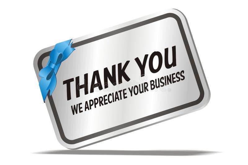 Dank u wij waarderen uw zaken - zilveren kaart stock illustratie