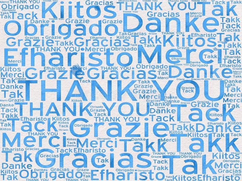 Dank u woorden in verschillende talen als achtergrond royalty-vrije illustratie