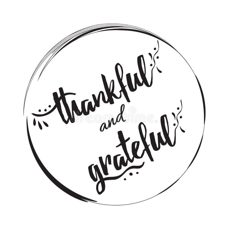 Dankbaar dankbaar vectorhand getrokken teken in zwart cirkelkader stock illustratie