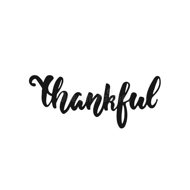 Dankbaar - hand getrokken die de Dankzeggingsvakantie van de Herfstseizoenen het van letters voorzien uitdrukking op de witte ach royalty-vrije illustratie